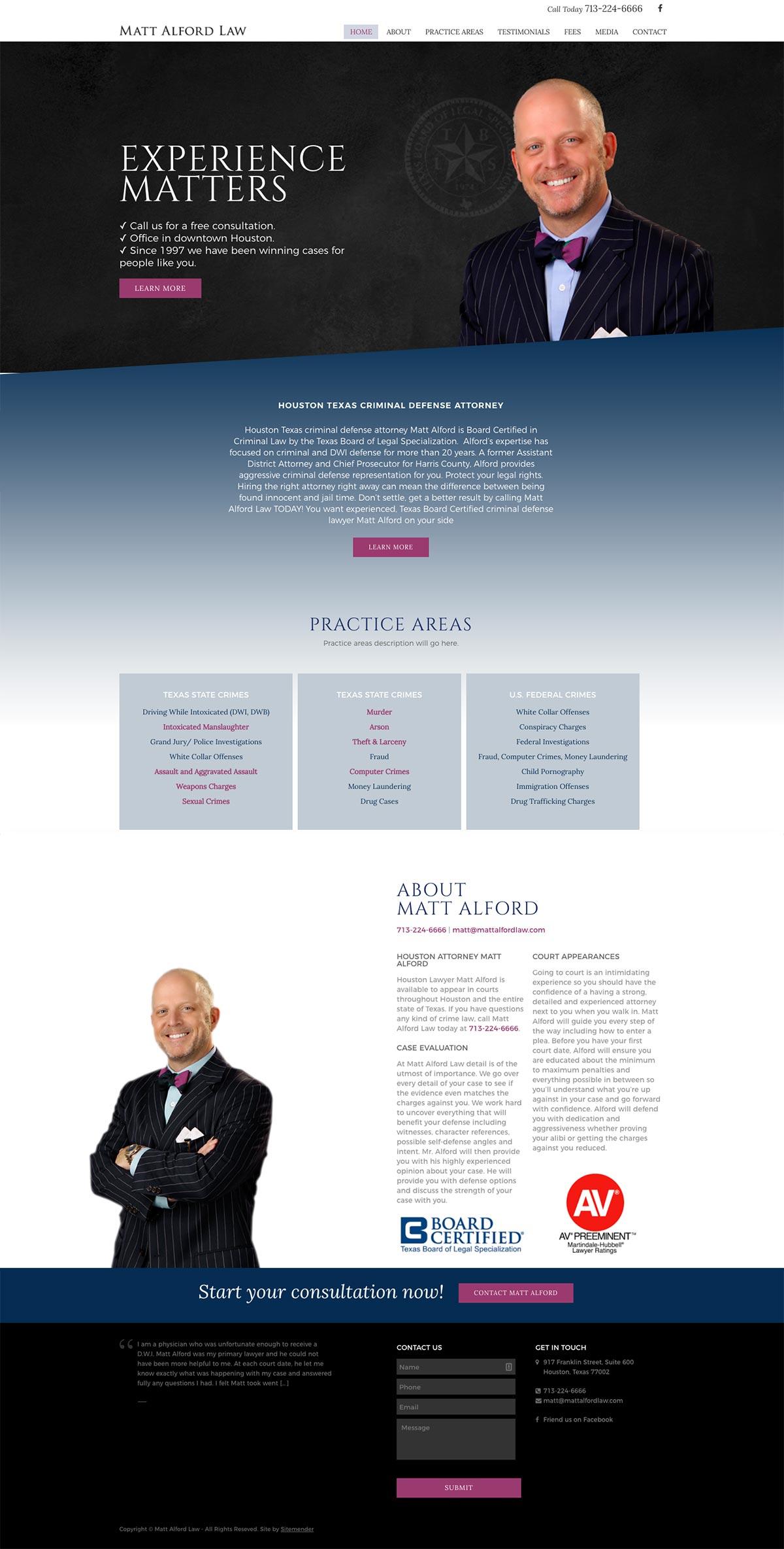 new Houston attorney website for Matt Alford Law