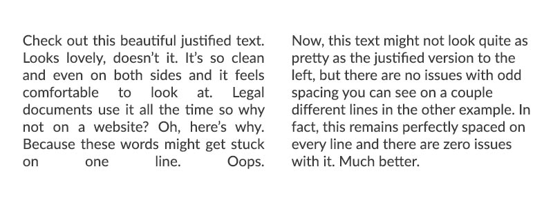 Text justification is a topic of website design questions.