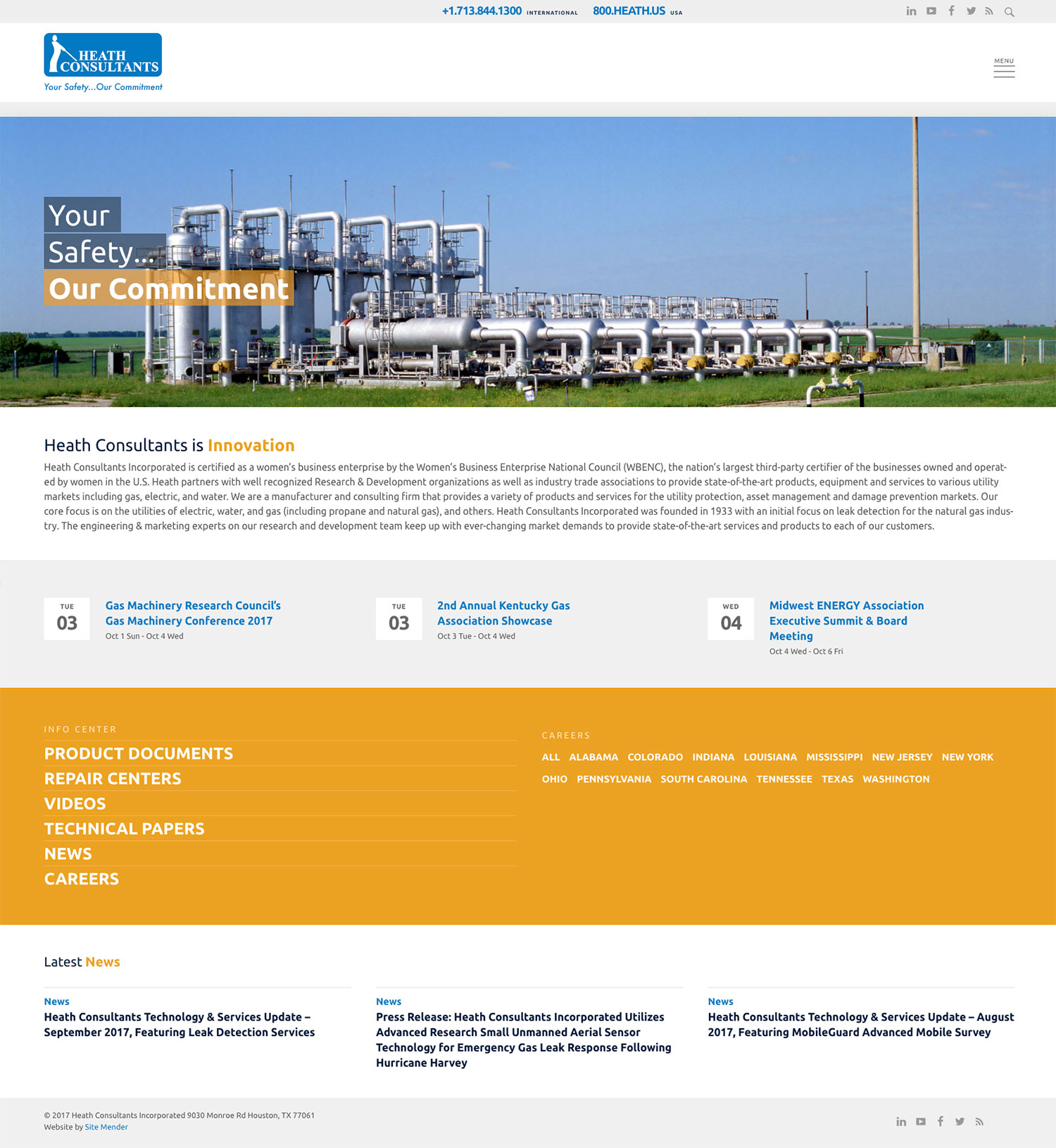 Heath Consultants natural gas industry website design.