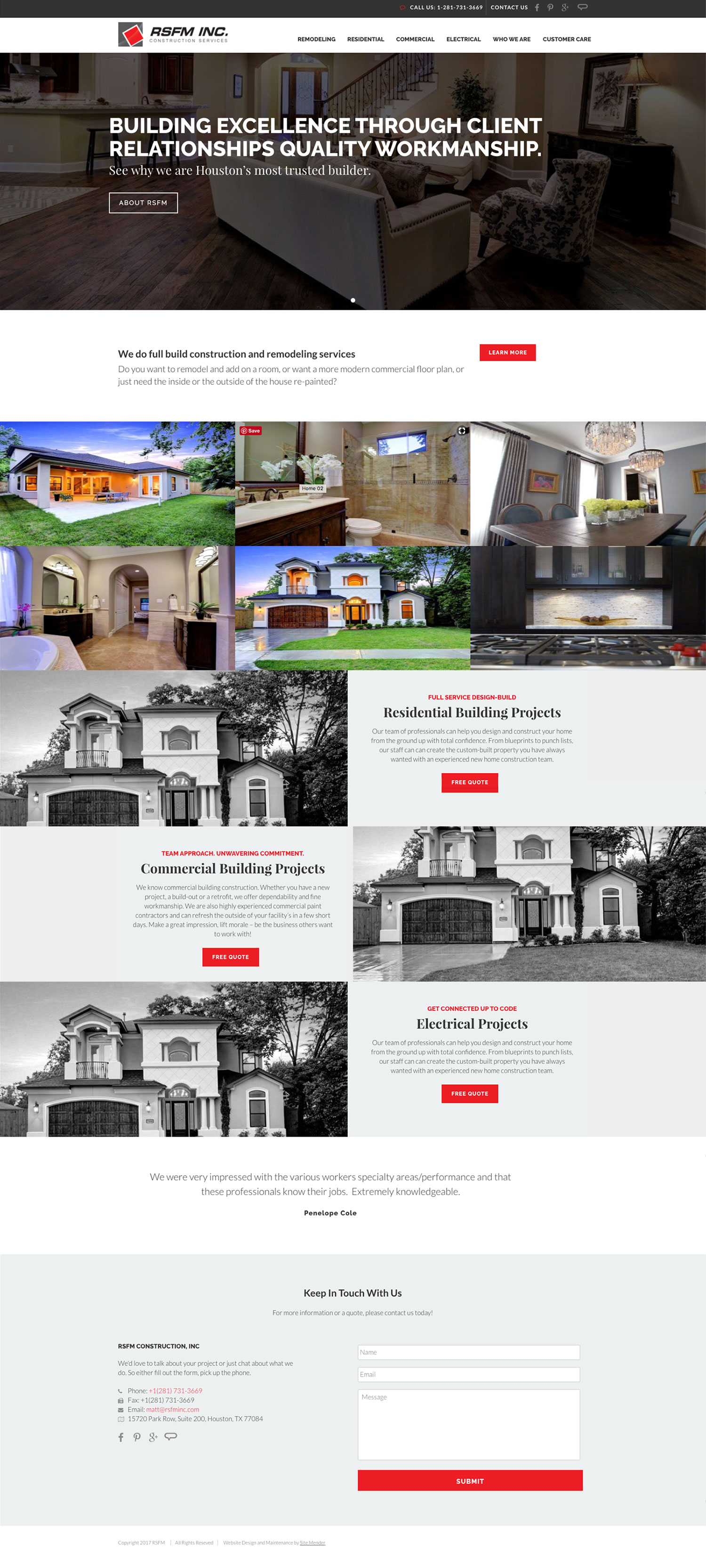 The new Houston construction company website design for RSFM Construction.