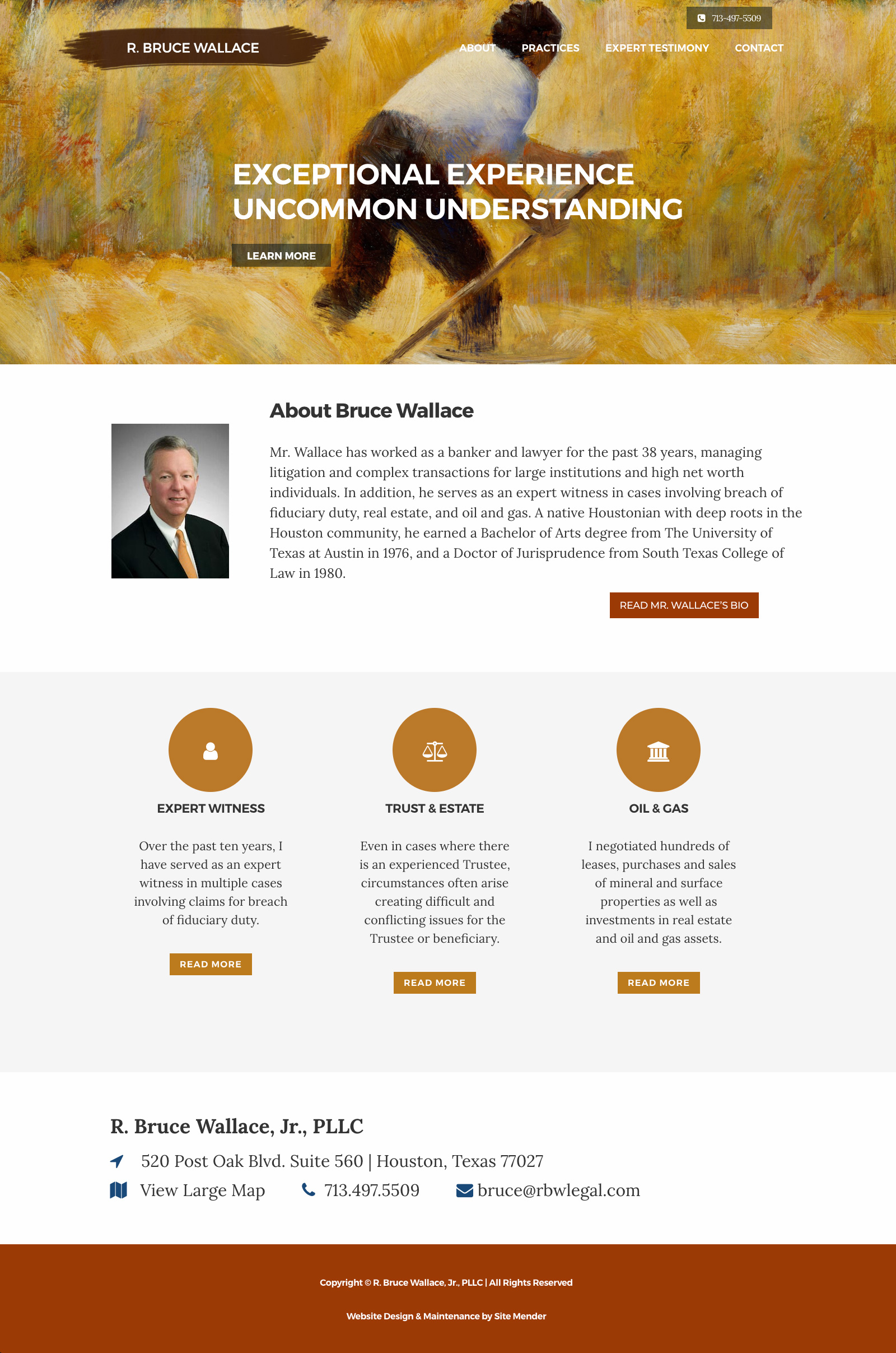 law firm website design for houston attorney r. bruce wallace