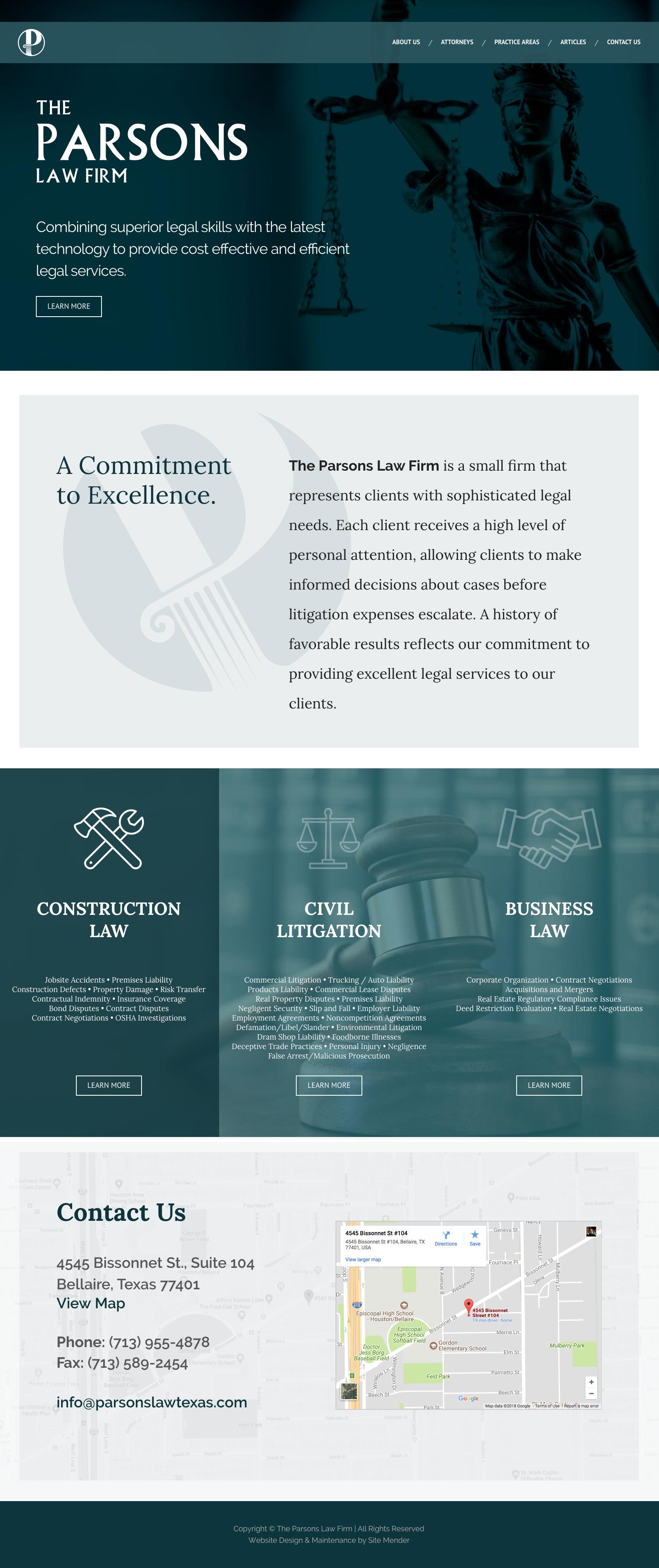 parsons law firm website design