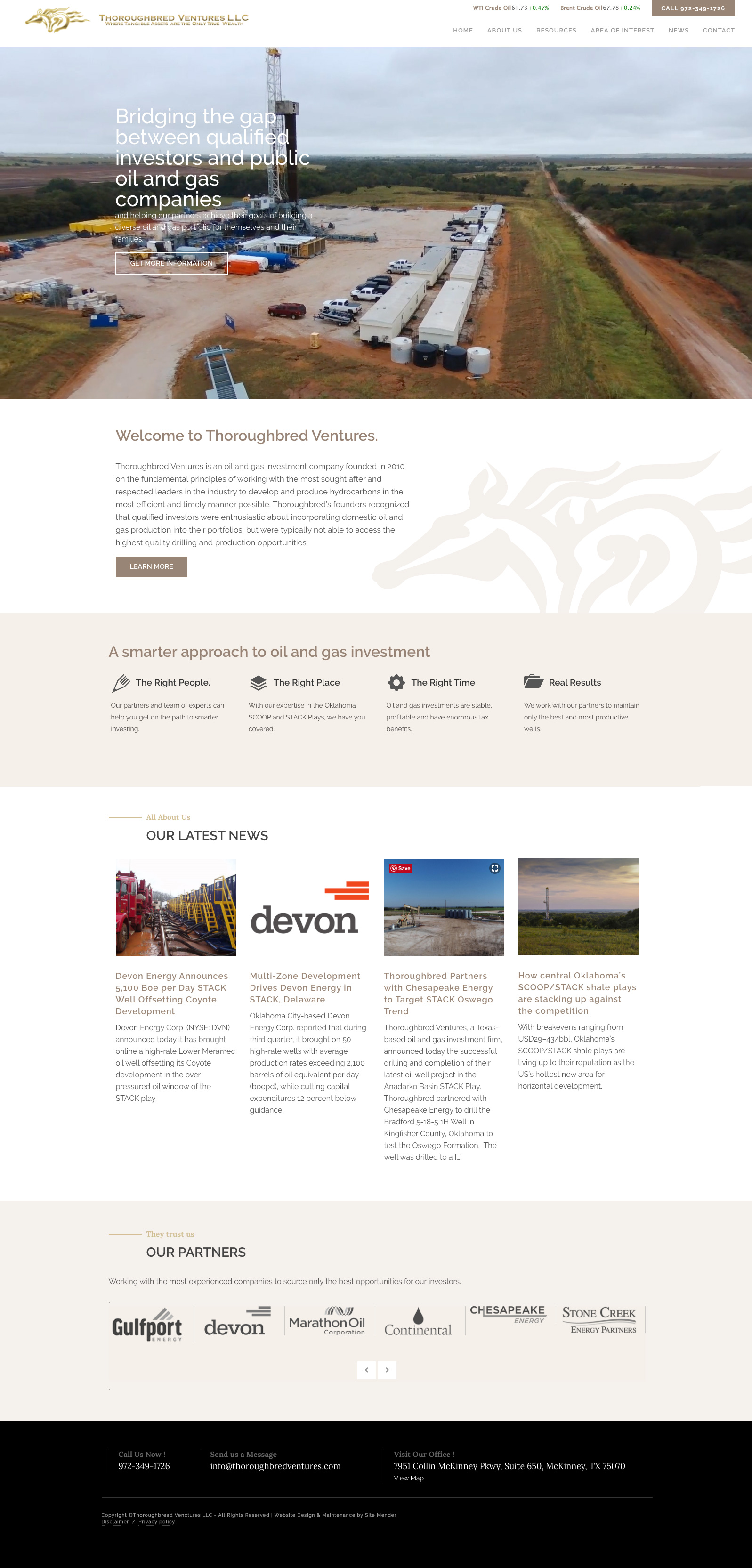 energy industry website design for thoroughbred ventures